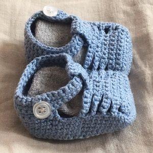 Crochet Blue Baby Sandals - Cotton - Newborn